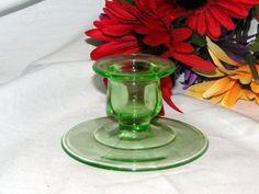 "Single Vintage 3 1/2"" Green Depression Glass Tapered Candle Holder"