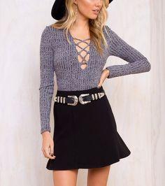 Blue Long Sleeve V Neck Sweater