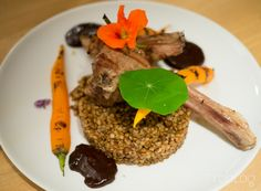 Lamb chops with buckwheat, blueberry&chocolate sauce and baby carrots
