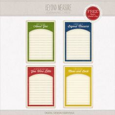 Quality DigiScrap Freebies: Beyond Measure journal cards freebie from Digital Designs Essential