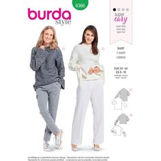 Burda Style B6366 Misses' Easy Tops - Either one would look great in a sweater knit! #sewing #sweaterknits