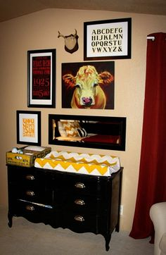 vintage rustic nursery or todler room yellow chevron black dresser cow and deer pieces