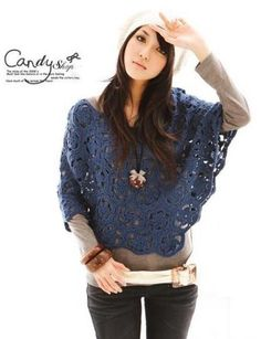 poncho bleu. Motif is graphed, with two possisble layouts shown. Nice  ༺✿ƬⱤღ✿༻