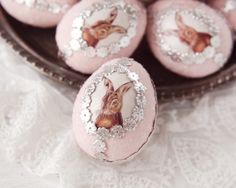 Easter Bunny Egg - Pink Spun Cotton Easter Egg Decoration A lovely handmade Easter bunny egg. This egg is made of spun cotton decorated with pink paint, german glass glitter, silver Dresden paper trim
