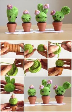 How to Make Amigurumi Crochet Kawaii Cactus.great prickly pear on the far right.perfect for those who forget when to water live plants. Kawaii Crochet, Cute Crochet, Crochet Dolls, Kawaii Crafts, Kawaii Diy, Crochet Cactus, Crochet Flowers, Yarn Projects, Crochet Projects