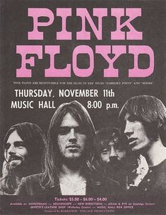 As part of the band's 1971 Meddle US tour, Pink Floyd performed in Boston at the Music Hall. Rock Posters, Arte Pink Floyd, Rock Vintage, Vintage Style, Concert Rock, Tattoo Band, Pink Floyd Poster, Photowall Ideas, Image Deco