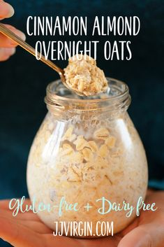 Cinnamon and almonds are a perfect match in this tasty, gluten-free overnight oats recipe, full of the energizing protein and filling fiber you need. Get this gluten free, dairy free, low sugar breakfast recipes now. Low Sugar Recipes, Oats Recipes, Raw Food Recipes, Foods Low In Sugar, Cinnamon Recipes, Freezer Recipes, Freezer Cooking, Recipies, Dairy Free Overnight Oats