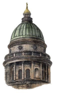 Drawing of copper dome at West Register House, fomerly St George's Church, Edinburgh