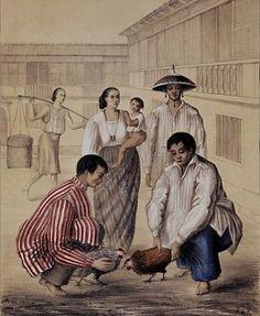 ALBUM FILIPINO - TRAJES Y COSTUMBRES DE MANILA Y SUS CERCANIAS - INDIOS PROBANDO SUS GALLOS - LITOGRAFIA SIGLO XIX.…
