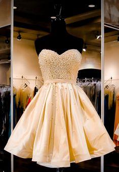 Charming Homecoming Dress,Satin Homecoming Dress,Sweetheart Homecoming Dress,Beading Homecoming