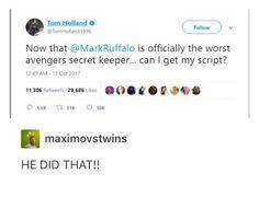 Tom Holland wants his script lol