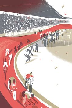 "cadenced: "" Riccardo Guasco illustration of the Velodromo Vigorelli in Milan for Rapha's City Cycling Guides. Richard Williams covers the velodrome's illustrious history, moves to restore it and its. Bike Illustration, Graphic Design Illustration, Digital Illustration, Graphic Art, Illustration Styles, Bike Poster, Bicycle Art, Cycling Art, Cool Posters"