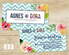 Agnes & Dora Custom Business Cards, Agnes & Dora Biz Cards, Agnes and Dora Personalized Business Card, best chevron floral marketing kit and branding for Consultants on ETsy