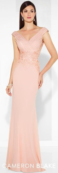Formal Evening Gowns by Mon Cheri - Spring 2017 - Style No. 117611 - blush pink evening dress with ruched cap sleeves and bodice and draped cowl back