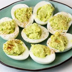 Healthy Avocado Deviled Eggs! No mayo!