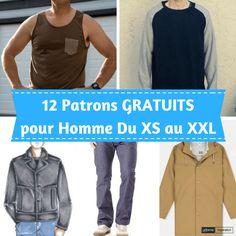 12 Patrons GRATUITS de vêtements  pour HOMME ! Toutes tailles du XS au XXL !
