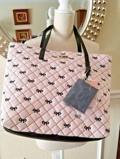 New Luv Betsey Johnson Pink Black Bows Quilted Karen Tote Satchel Purse Bag   BetseyJohnson   f89844e2c7ee3