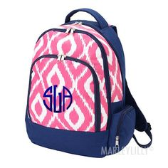 Monogrammed Pattern Backpack from Marleylilly.com! #monograms #marleylilly #backtoschool