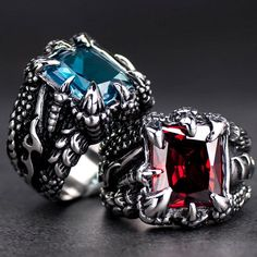 Dragon Claw, Dragon Ring, Wedding Band Styles, Wedding Bands, Ruby Sapphire, Sapphire Jewelry, Party Rings, Types Of Rings, Stainless Steel Rings