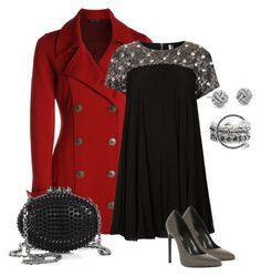 """Red Coat Black Dress"" by sherri40 ❤ liked on Polyvore featuring NIC+ZOE, Topshop, Yves Saint Laurent, Christian Louboutin, Alex and Ani and Blue Nile"