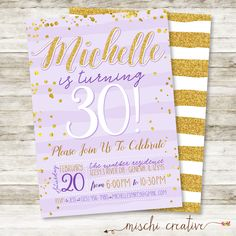 """30th Birthday Invitation - Women's Simple Glam 30th Birthday Party DIY Printable Invitation in Gold Glitter and Purple, Any Age, 5"""" x 7"""" by MischiCreative on Etsy https://www.etsy.com/listing/265630813/30th-birthday-invitation-womens-simple"""