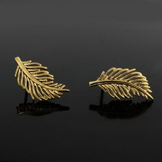 24k Yellow Gold Filled Leaf Stud Earrings with Push Back 116G #LeafStud