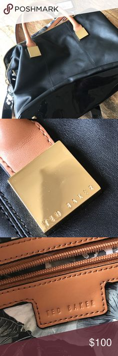 Ted Baker of London large handbag This is new! Gorgeous and perfect condition. It's large. Black tan and gold details. Has long shoulder strap. Inside is perfect  with pretty flowers. Ted Baker London Bags Shoulder Bags