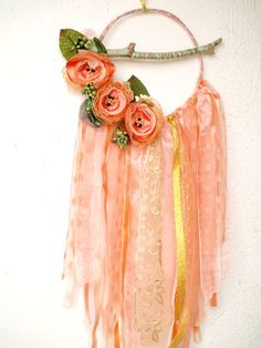 Floral dreamcatcher, coral dreamcatcher mobile, orange pink greenery wall hanging, peach pink floral decor, modern dreamcatcher,gift for her