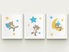 Nursery baby boy room printable art sleepy teddy bear on the moon wall decor, teddy with the stars and moon child room kids room wall art  PLEASE READ  Please note, this listing is for an INSTANT DOWNLOAD of DIGITAL FILES - no print will be mailed, this listing does not include a physical item. You can print these files at home on your own printer or take them to a print shop of your choice.  Fast, easy and affordable - no shipping or waiting necessary. Purchase, Print and Enjoy!  INCLUDED…