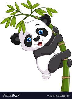 Vector illustration of Cute funny baby panda hanging on a bamboo tree