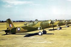 What appear to be freshly delivered Vultee Vengeance aircraft line a dirt ramp somewhere in the Far East (India, Burma), sporting Type-A roundels Royal Australian Navy, Royal Australian Air Force, Navy Air Force, Royal Air Force, Ww2 Aircraft, Military Aircraft, Military History, Wwii, Fighter Jets