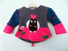 Jacke Eule Owl  Zipfelpullover Punkte bunt von Zellmann Fashion auf DaWanda.com