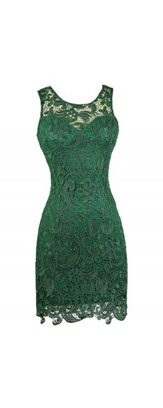 In First Lace Pencil Dress in Hunter Green www.lilyboutique.com