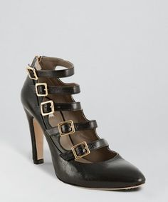 Marc Jacobs black leather zip heel buckle strapped pumps -  Marc Jacobs black leather zip heel buckle strapped pumps Marc Jacobs black leather zip heel buckle strapped pumps Grained,subtly shined leather upper Softly pointed toe Five functional goldtone buckle straps across vamp Decorative rear zipper extends down back heel Leather lined Leather...
