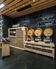 Mega Image, one of the biggest retailers in Romania, opened its first shop under the brand Gusturi Romanesti (Romanian Flavours) in Café Bar, Beer Bar, Drink Beer, Retail Interior, Restaurant Interior Design, Restaurant Interiors, Bar Deco, Liquor Shop, Craft Bier