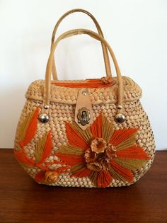 Perfect little bag to brighten a dull winter.  Vintage Mexican Straw Purse by HotCoolVintage on Etsy, sold