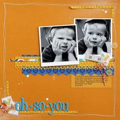 Orange and blue--perfect for a boy.  Always love layouts by Sarah Webb!