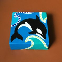Orca Miniature Painting Daily Doodle 7/2/16 4x4 by nJoyArt on Etsy