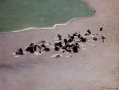 """radstudies: """" Félix Vallotton (Swiss/French, 1865-1925) Women Drying Laundry on the Beach """""""