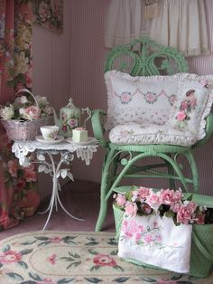 Tea and dessert area. Lovely with the green and always roses.