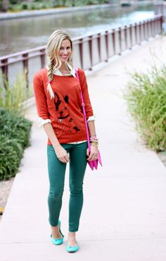 I never met an animal sweater I didn't like. [Layered over printed blouse. Add colored jeans & bright flats.]