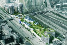 Dorte Mandrup has designed the masterplan and is currently detailing the new urban IKEA that will house a park on top. The other elements in the masterplan are detailed by others including hotel and student housing. Frank Gehry, Environment Design, Built Environment, Bjarke Ingels Architecture, Vancouver Architecture, Balcony Herb Gardens, Space Copenhagen, Architecture Details, Skyscraper