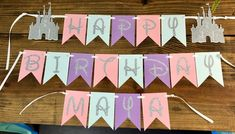 disney princess Princess castle Birthday Banner Each banner flag is approximately 4 inches! Made from cardstock paper in Pink, blue , purple, and silver glitter cardstock. Princess Birthday Party Decorations, Disney Princess Birthday Party, Disney Themed Party, Cinderella Party, Disney Party Decorations, Wreck It Ralph, Deco Disney, Disney Disney, Rapunzel