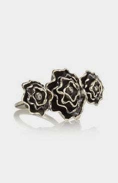 Burnished silver-tone rose ring