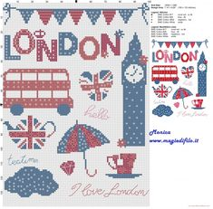 London symbols cross stitch pattern
