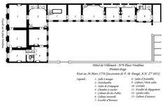 Plan du premier étage de l'hôtel de Villemaré - Hôtel de Villemaré — Wikipédia