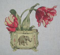 """Beautifully painted floral canvas with the good luck elephant.  The colors are exquisite!  Overall dimensions are 11"""" w x 10"""" high.  18 Mesh."""