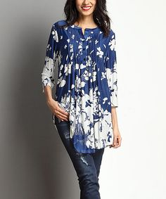 Another great find on #zulily! Navy & White Floral Notch Neck Pin Tuck Tunic #zulilyfinds