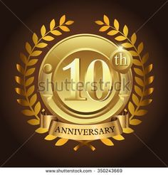 10th golden anniversary wreath ribbon logo - stock vector