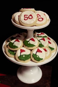 Favor - the cookies could be as simple as the one on top and ice them white and put the #1 in blue and green.